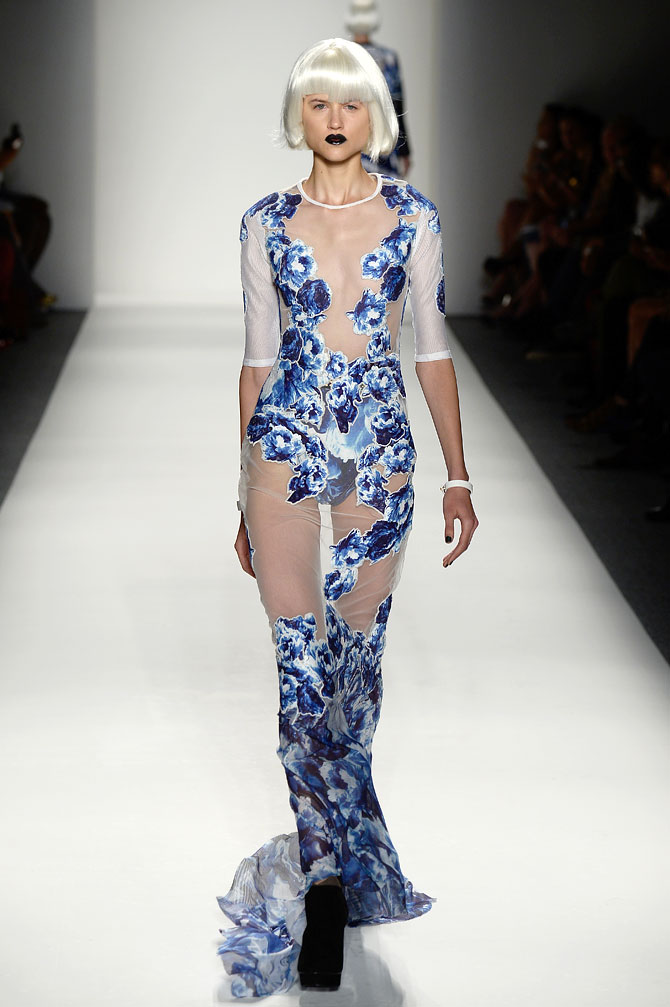A model walks the runway for Falguni and Shane Peacock at the New York Fashion Week