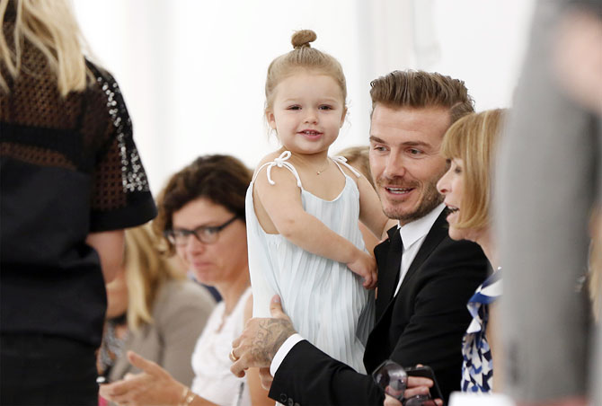 David Beckham with daughter Harper Seven and Anna Wintour