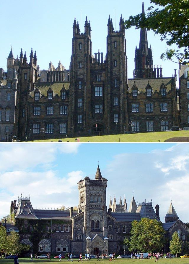 (Above) New College, Mound Edinburgh University's Divinity school and (below) University of Toronto, Canada