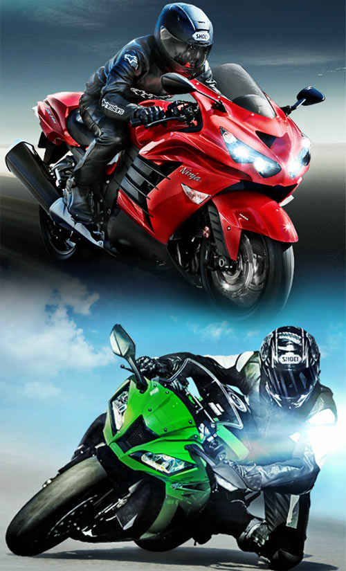 A collage of Kawasaki Ninja ZX-14R (in red) and ZX-10R (in green)