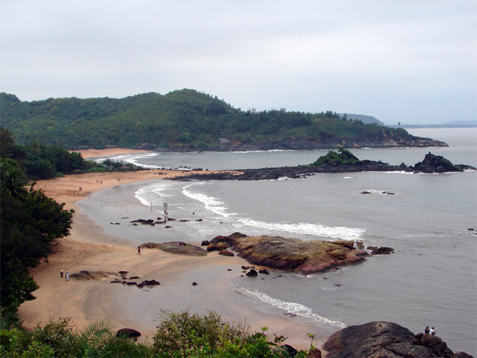 The Om beach had gained its name from the peculiar shape of the coast which resembles the venerated Sanskrit sound.