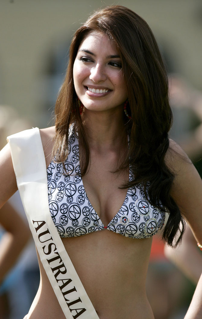 Miss Australia Sabrina Houssami poses during a Miss Beach competition in Sopot, northern Poland, September 7, 2006. More than 100 candidates took part in the 56th Miss World at the end of September in Poland.