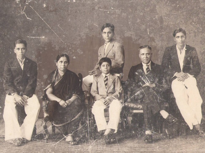 A family photograph of the Kulkarni family -- seen in the picture are the author's grandparents.