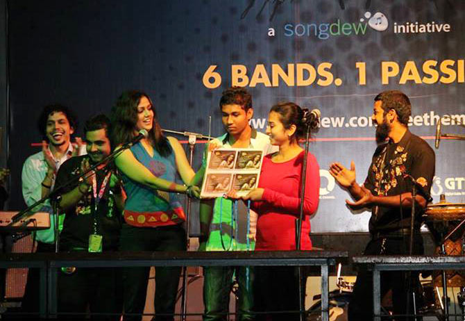 Chinmayee Tripathi (third from left) during the launch of Free the Music in Mumbai