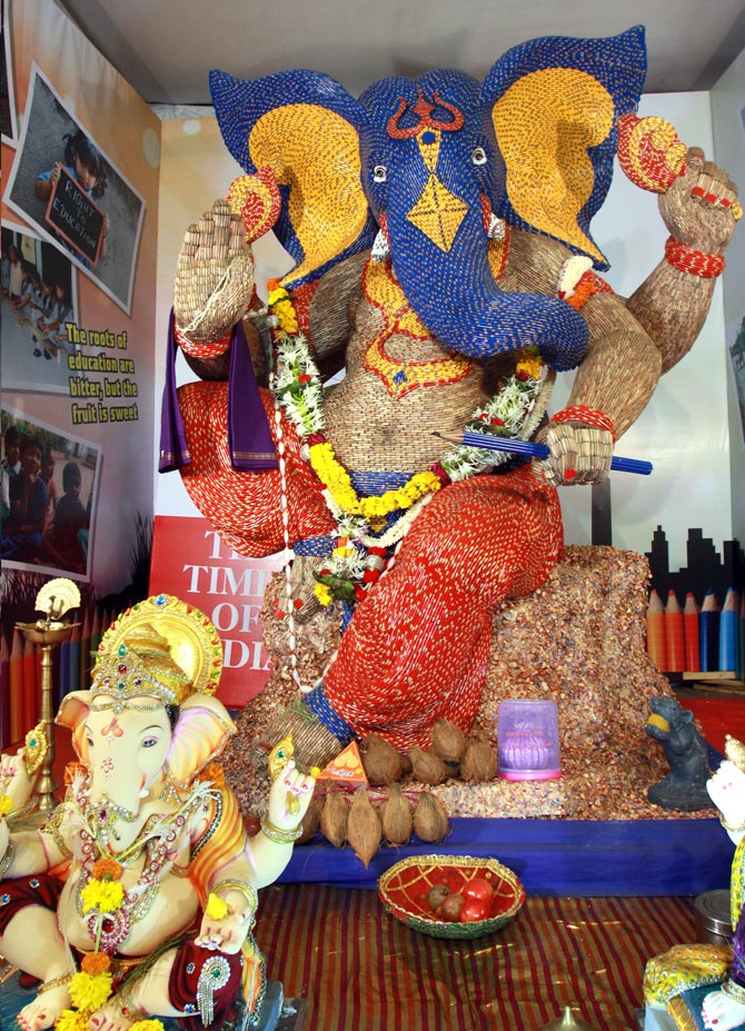Ganesha made out of pencils in Malad, Mumbai
