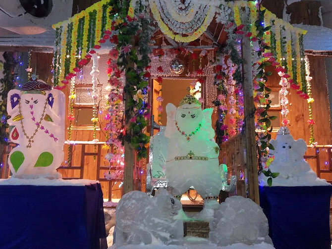 Ganesha made out of ice at Snow World