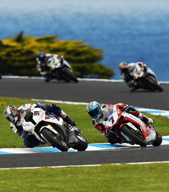Leon Haslam of Great Britain rides the #91 BMW Motorrad Mo