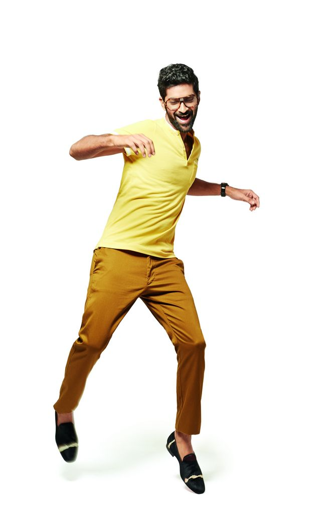 A bright yellow T-shirt can do wonders for earthy chinos