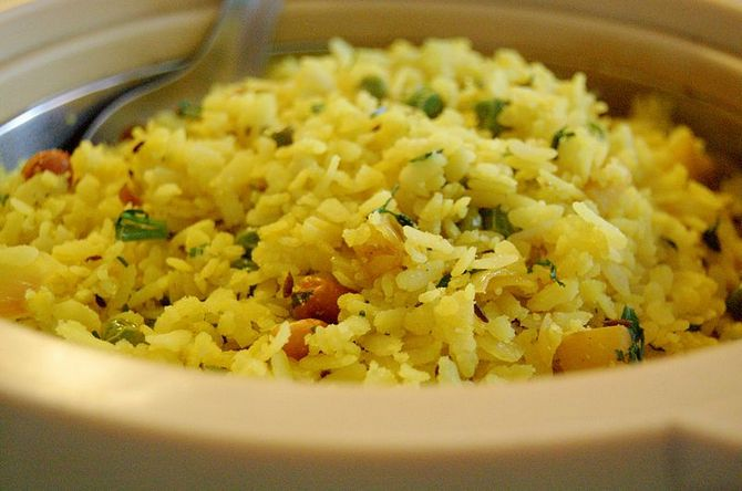 A version of the Poha, an easy-to-make breakfast dish