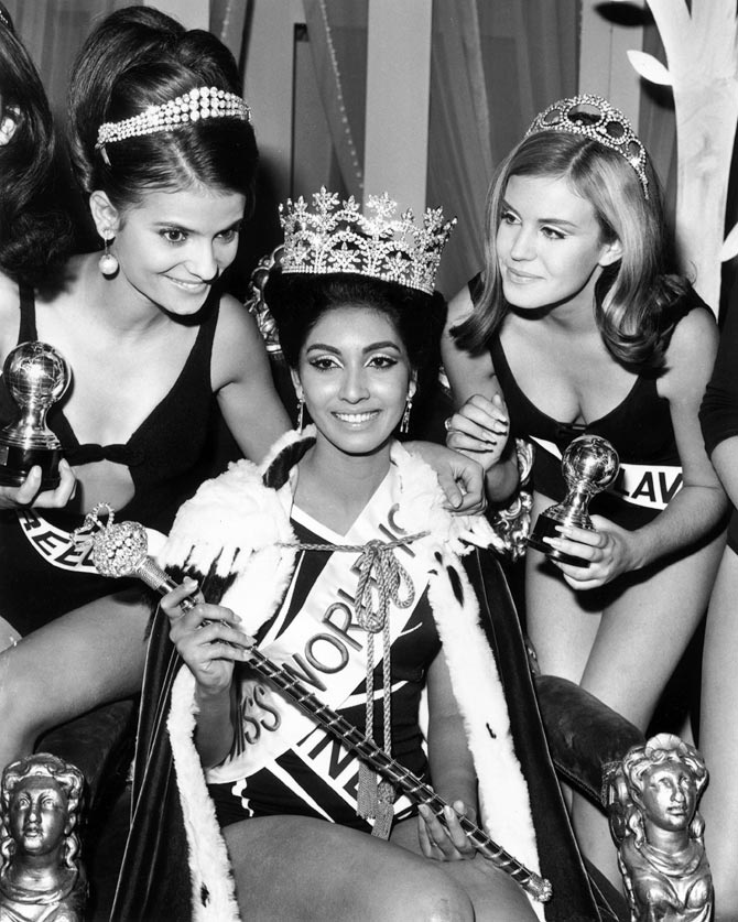 17th November 1966: Miss India, Reita Faria is crowned Miss World 1966 at the Lyceum Theatre, London. Beside her are runners-up Miss Greece (left) and Miss Yugoslavia (Nikica Marinovic), who were awarded third and second place respectively.