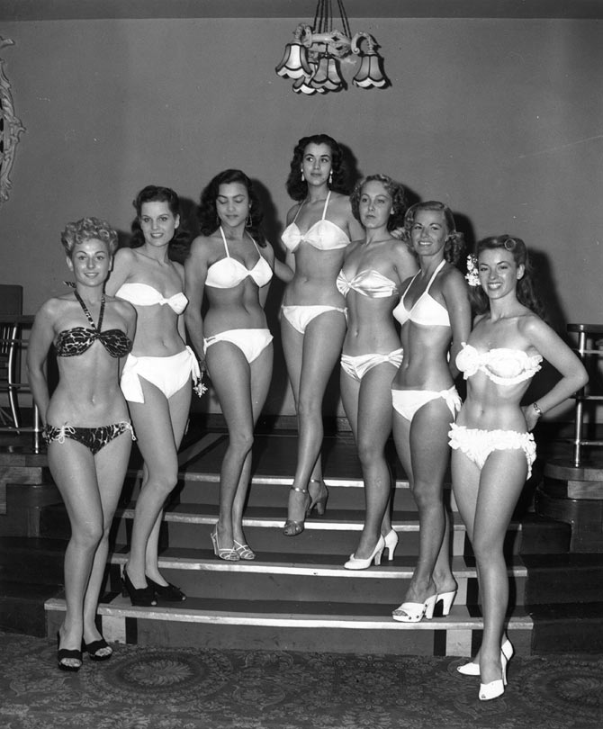 Competitors in the first Miss World contest at the Empire Rooms on Tottenham Court Road, London.