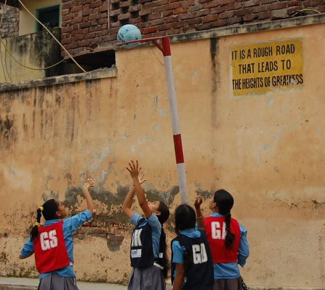 A netball game in progress. Naz uses netball as a vehicle for social inclusion.