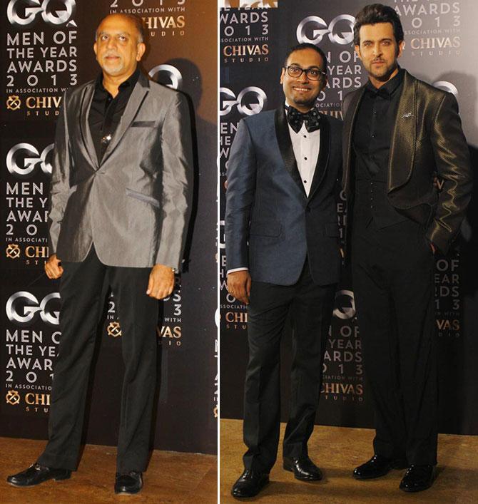 Alex Kuruvilla (L) and Che Kurrien with Hrithik Roshan