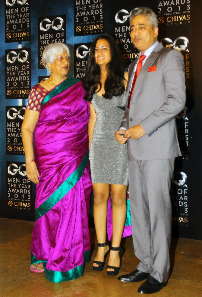 Professor Nandini Sardesai, Tarini Sardesai and Rajdeep Sardesai.