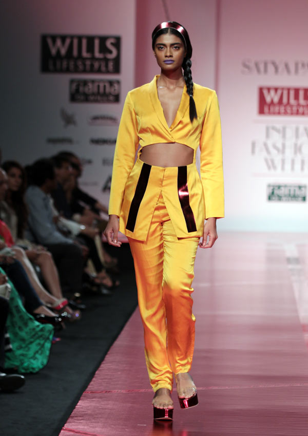 A model in a Masaba Gupta creation for Satya Paul