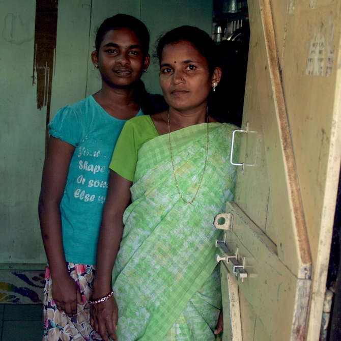 Jayashree with her younger daughter Shweta who also appeared for her Class X examinations.