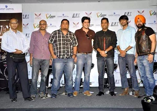 Shashank Chaubey (second from right) at the launch of Bike Festival in India with Mahendra Singh Dhoni