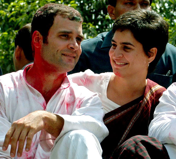 Rahul Gandhi (L) and his sister Priyanka Gandhi celebrate Holi in Rae Bareli in 2006.