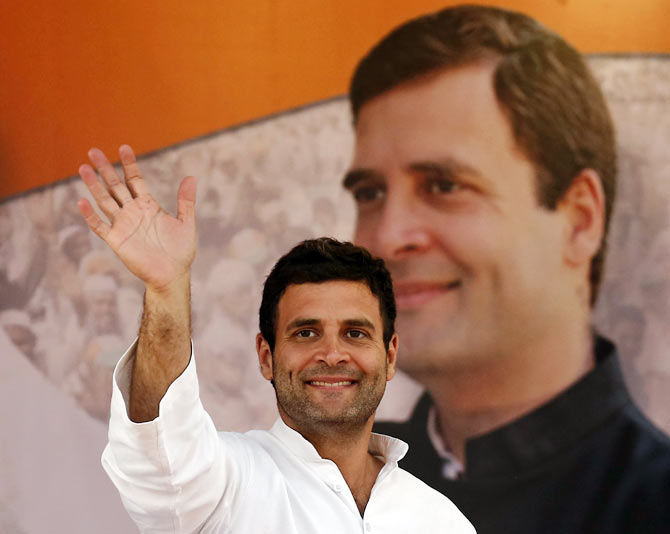 Rahul Gandhi waves to his party supporters during a rally ahead of general elections in New Delhi earlier this year.