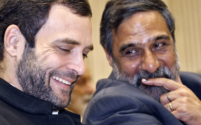 Seen here is Rahul Gandhi along with Anand Sharma, the minister for Commerce and Industry and Textiles in a picture dated November 2012.