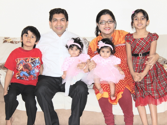 Anuraga (second from right) with husband Pramod and kids.
