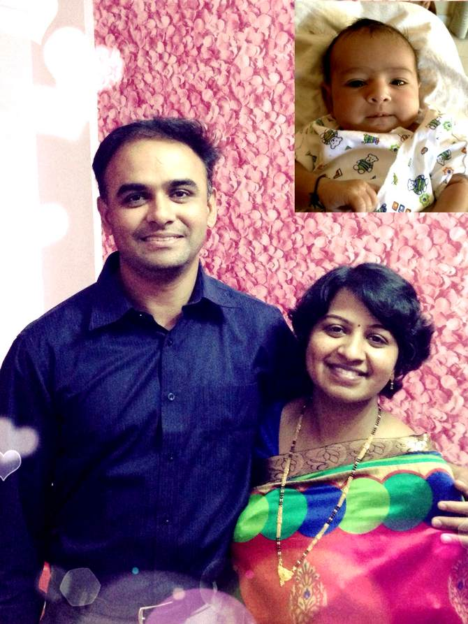 Satish Ghogre with his wife Smitha and (inset) daughter Rhea.