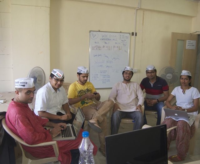 AAP volunteers at their office in the suburb of Andheri, Mumbai: From left: Rakesh Lamba, Paritosh Pant, Nitin Singh, Akshay Marathe, Rishabh Kedia and Anushka Shah