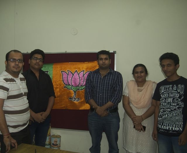 Volunteers of Vote for India at the BJP office in Dadar, central Mumbai. From left: Jemin Panchal, Chinmay Pawar, Ashvani Ramchandani, Shweta Kadam and Sahil Shaikh.