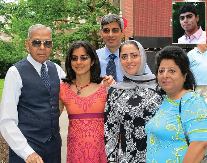 Sana Raoof with her parents and grandparents; Inset: Sahir, her brother