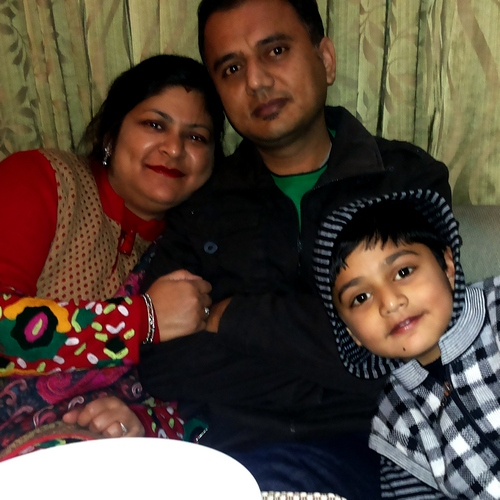 Ravi Goyal with his wife, Anurag and son Anurav