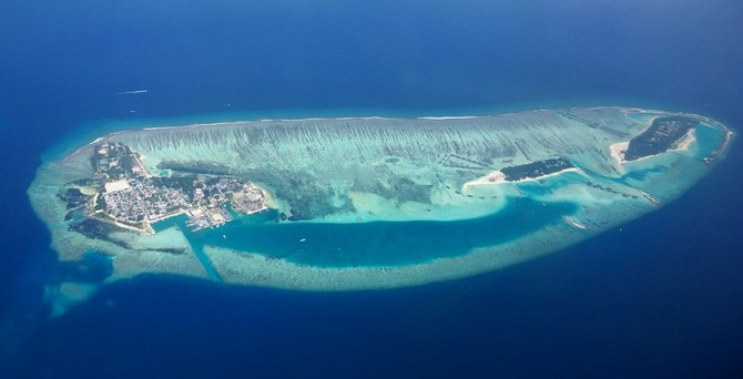 An ariel view of an island in Maldives