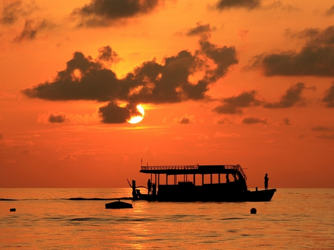 A breathtaking sunset along one of the beaches of Maldives.