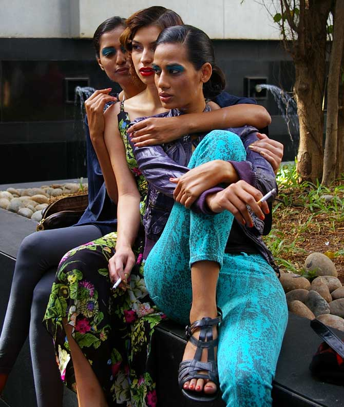 Model Sony Kaur (R) at Lakme Fashion Week
