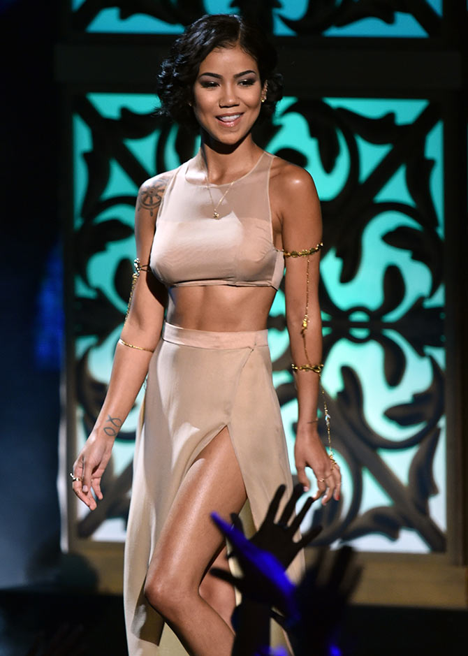 Singer Jhene Aiko performs onstage during the BET AWARDS '14 at Nokia Theatre L.A. LIVE on June 29, 2014 in Los Angeles, California.