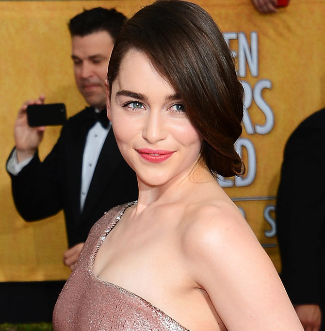 Actress Emilia Clarke attends the 20th Annual Screen Actors Guild Awards at The Shrine Auditorium on January 18, 2014 in Los Angeles, California.