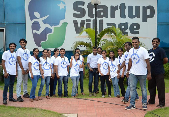 Varun Chandran with the team of Corporate 360