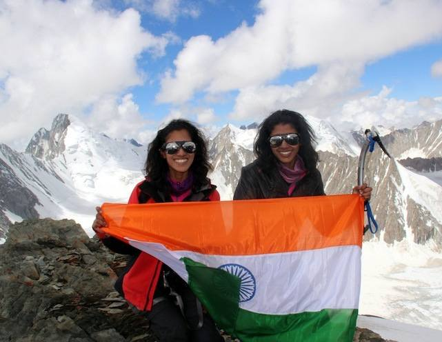 Twin sisters Tungshi (left) and Tashi Malik atop Mount Everest