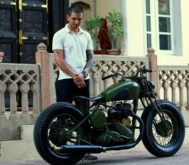 Vijay Singh Ajairajpura of Rajputana Custom Motorcycles with his custom-made bike Laado