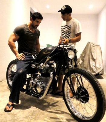 First Client John Abraham with Vijay and the bike Light Foot