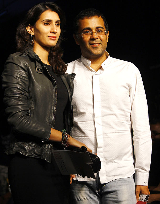 Chetan Bhagat with a guest