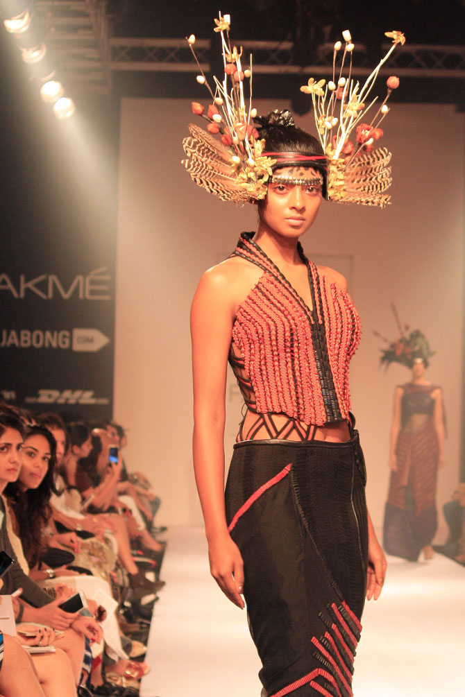 A model in a Neha Agarwal creation.