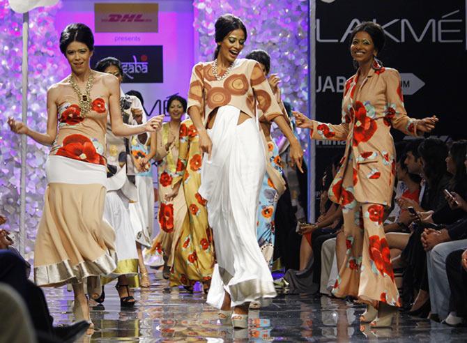 Models in Masaba Gupta creations.