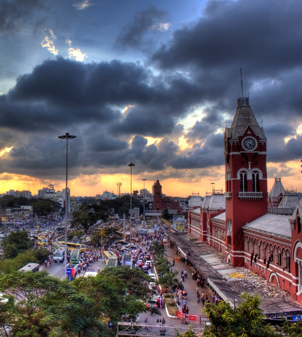 The iconic Chennai Central railway station
