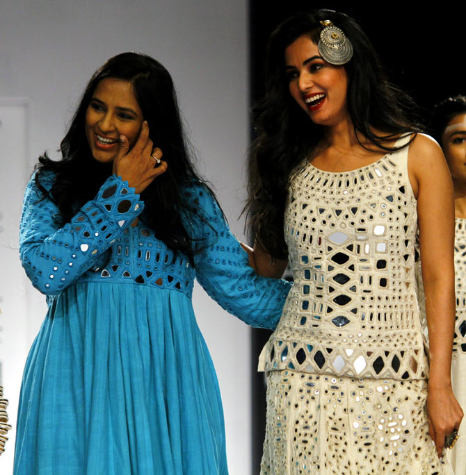 Designer Purvi Doshi with Sonal Chauhan.