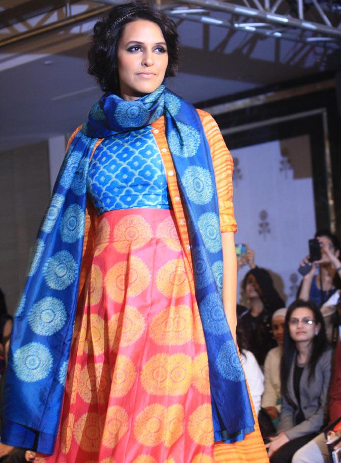 Neha Dhupia in a creation by Swati Vijaivargie.