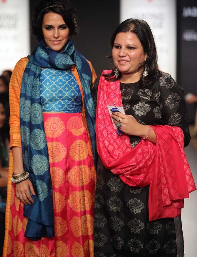 Showstopper Neha Dhupia with designer Swati Vijaivargie.