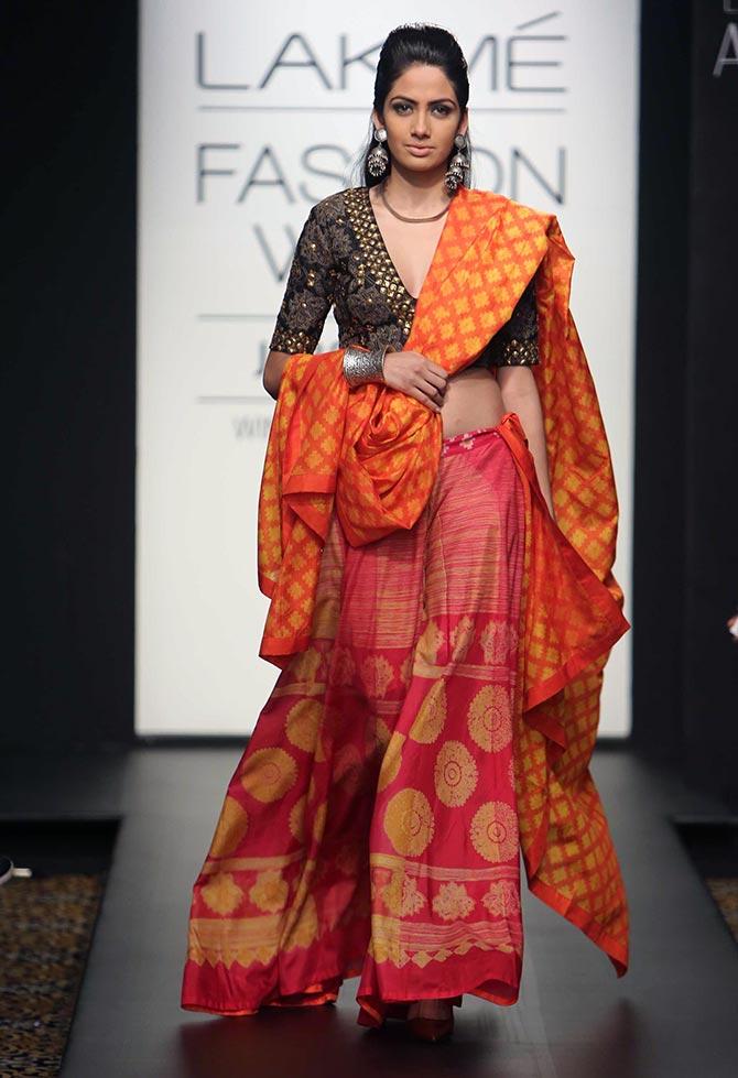 A model in a Swati Vijaivargie creation.