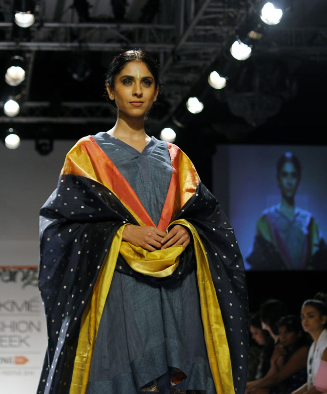 A model in a Gaurang Shah creation.
