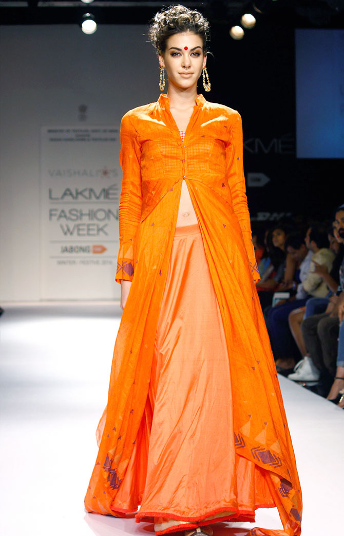 Model Alicia Komodromos in a Vaishali S creation.