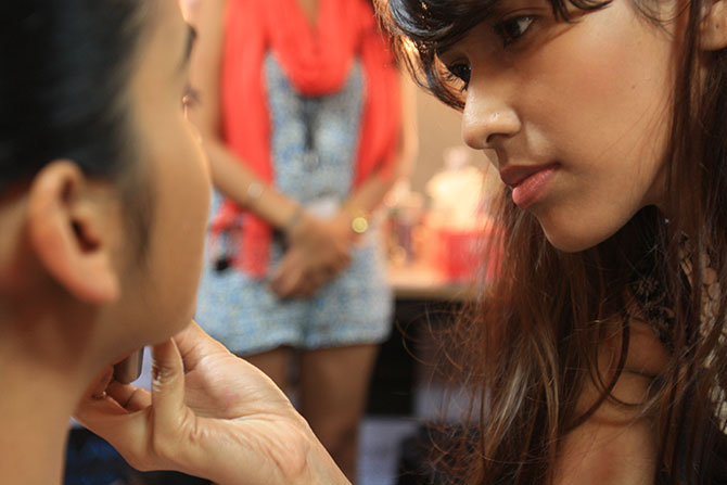 Backstage at Lakme Fashion Week Winter/ Festive 2014.